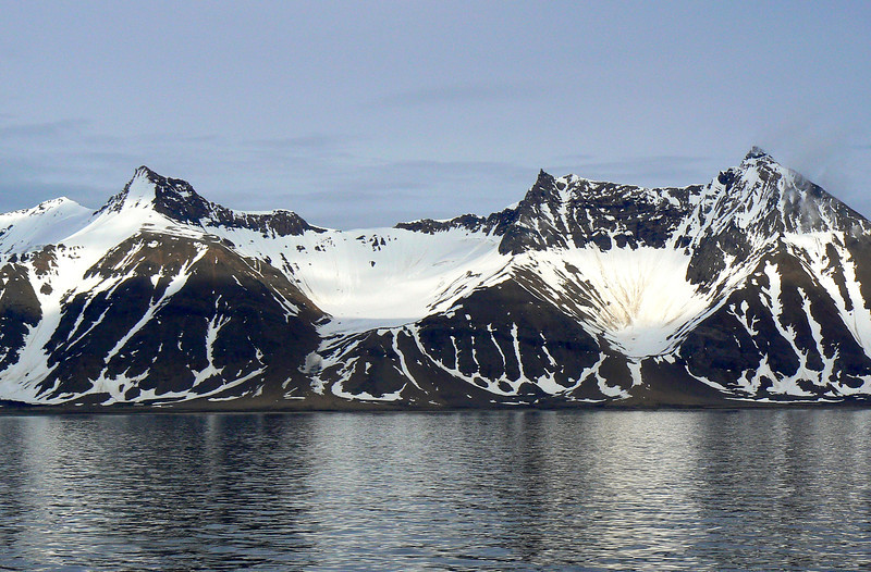 The stunning view when sailing from Longyearbyen in Svalbard, Norway.