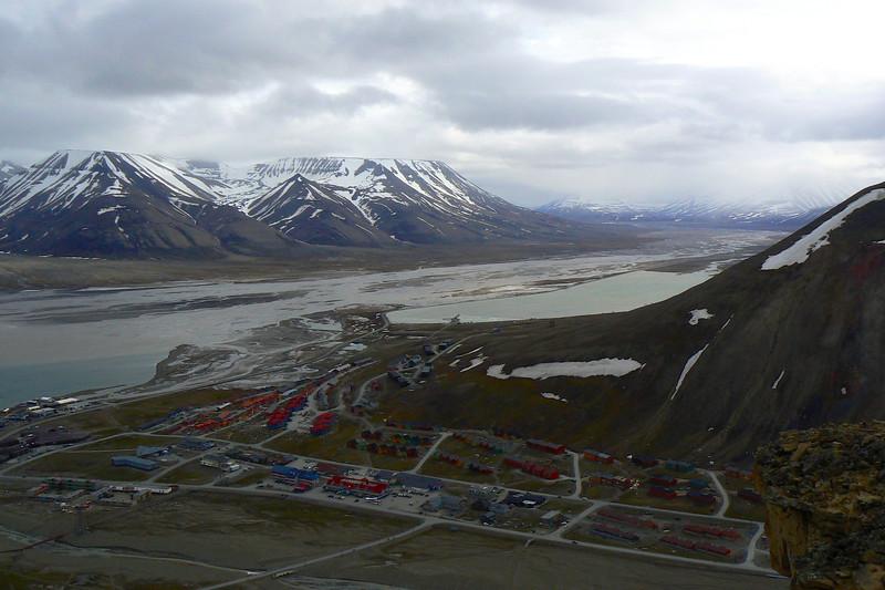 Looking down on Longyearbyen, Norway