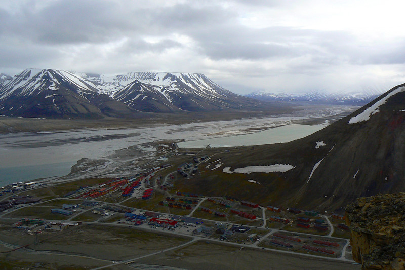 Looking down on Longyearbyen, Norway