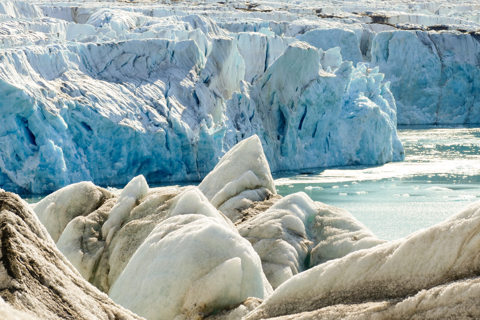 Close up view of a glacier