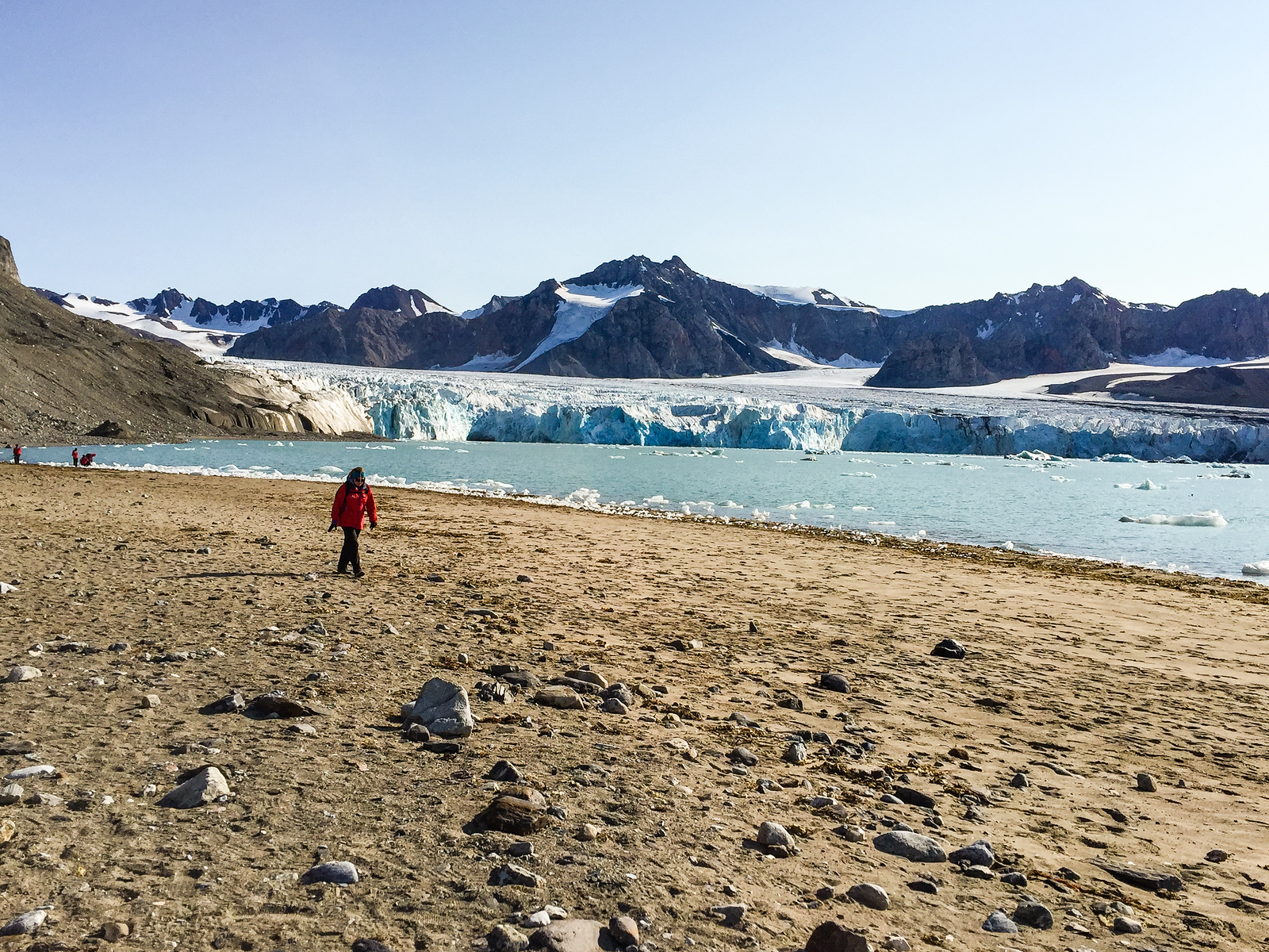 Hiking 14th July Glacier in Norway on a Silversea expedition cruise to the Arctic.