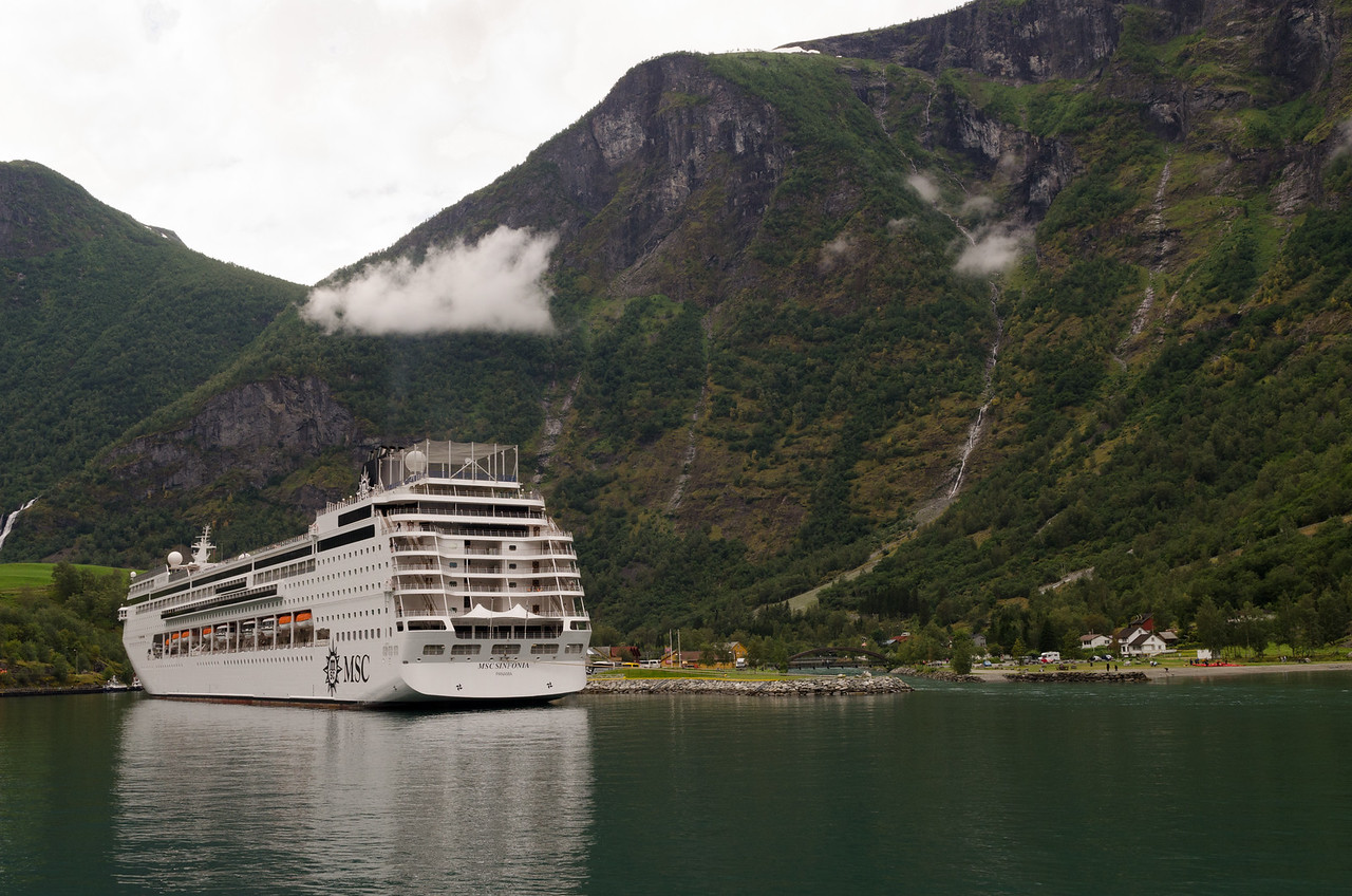 The cruise ship MSC Sinfonia at the dock in Flam as we arrive.