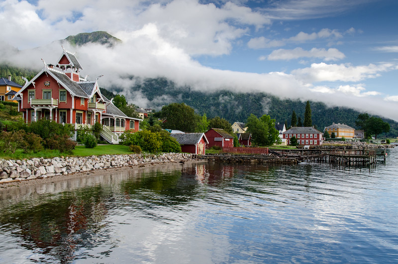 Villa Strandheim is the most impressive house in Balestrand, built in 1893 in Norwegian Dragon Style.