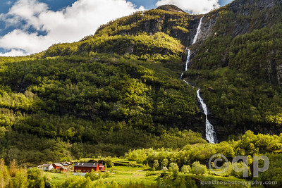 FLAM VALLEY WATERFALL  AND SMALL TOWN