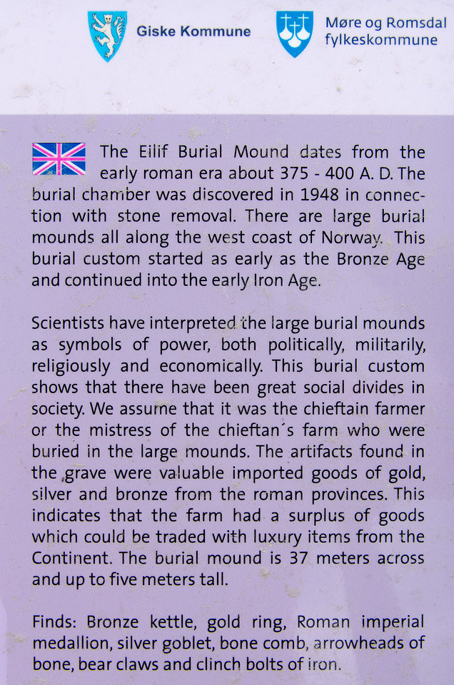 A sign explaining about the Eilif Burial Mound, Godoya, Norway.