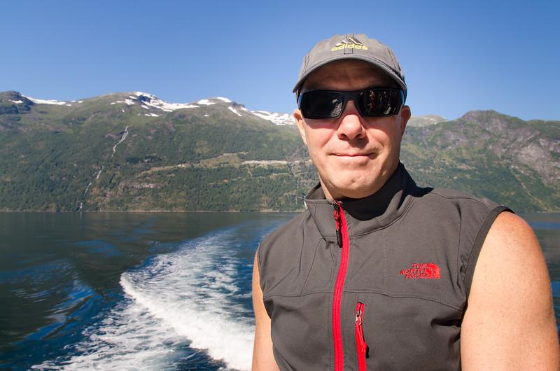 Tim enjoying a sunny August day on Geirangerfjord.