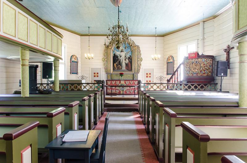 The interior of Geiranger Kyrkje.