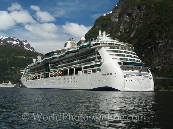 Geiranger Fjord -  Cruise Ship in Fjord Head