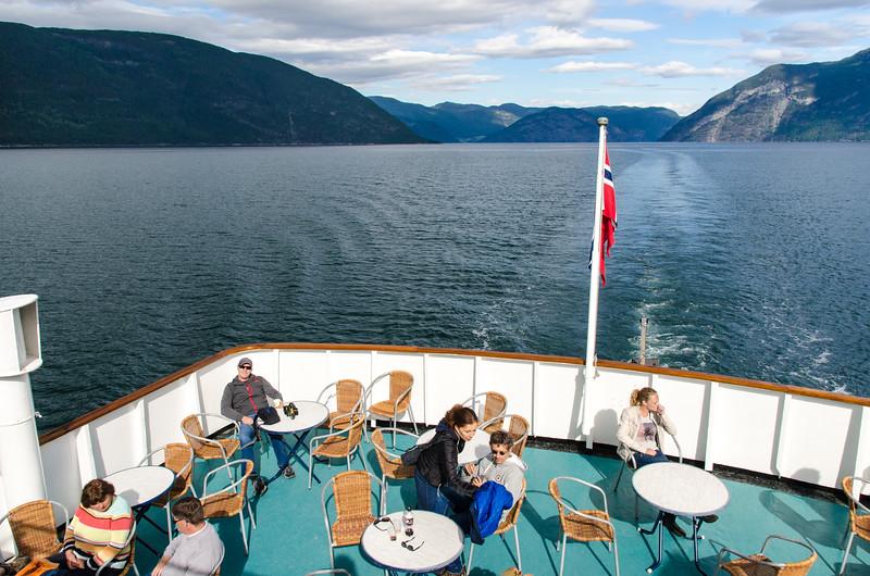 Enjoying some sun on the deck of the Skanevik.