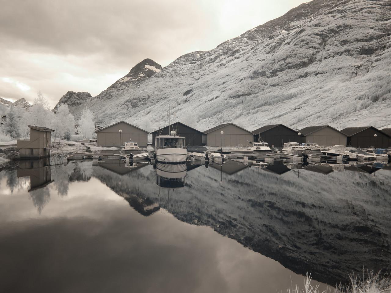 Innvik Harbor in infrared.