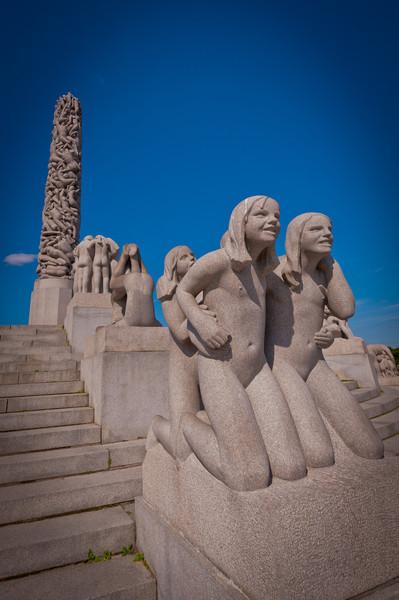 Granite sculptures on Monolith plateau by Gustav Vigeland