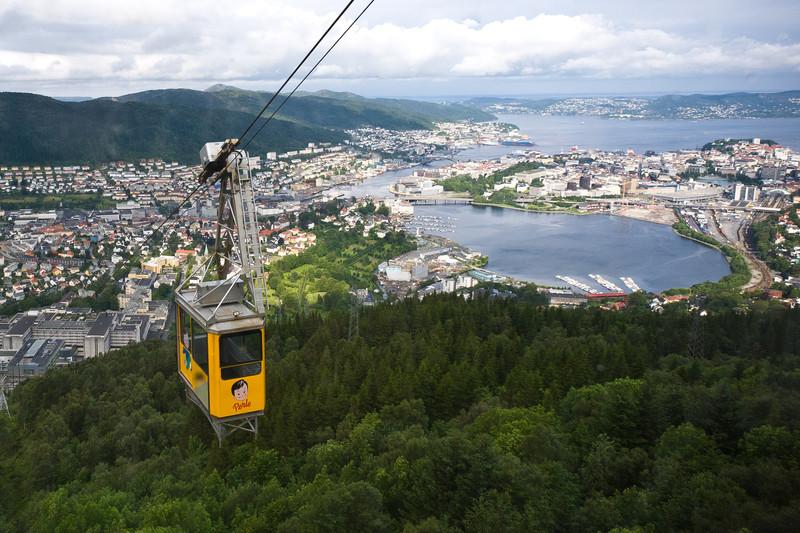 Bergen from Mount Ulriken via cable car
