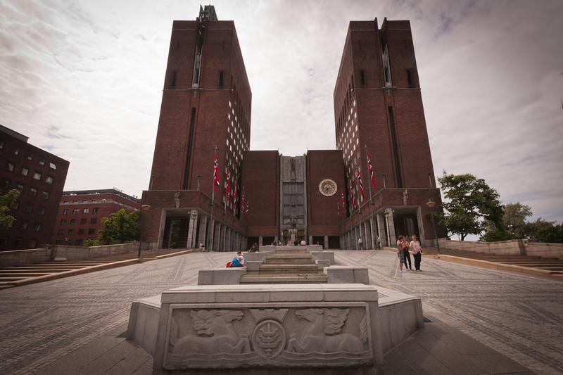 Oslo City Hall, circa1950, Nobel Peace Prize awarded here