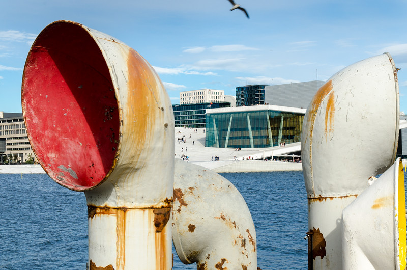 Oslo Opera House with sculpture in the foreground.