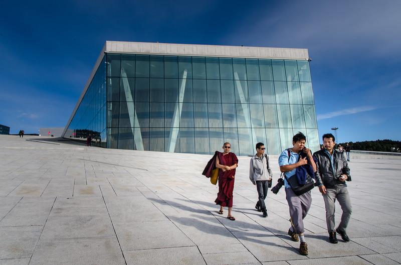 Tourists at the Oslo Opera House.