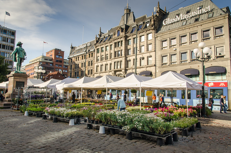 A flower market in Oslo.