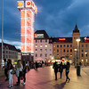 In front of Oslo Central Station at twilight.