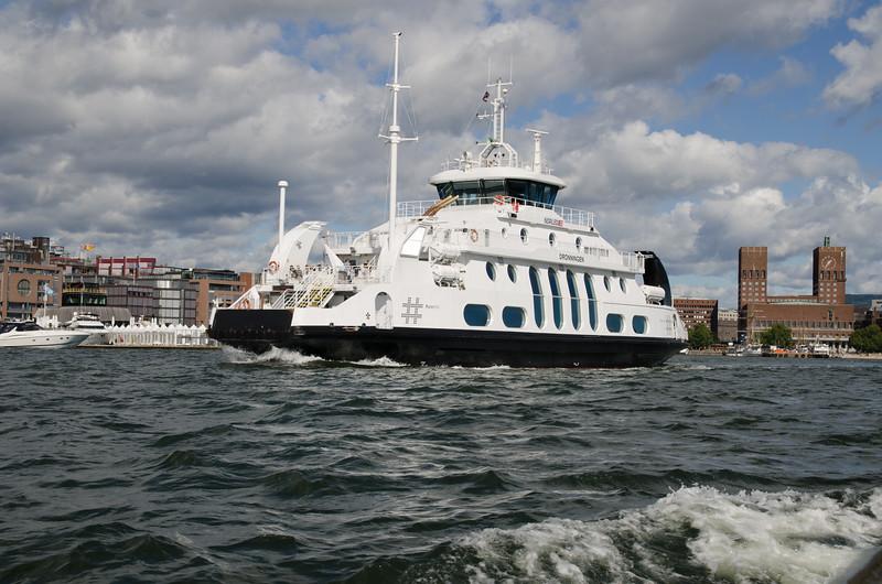 A ferry in Oslo Harbor.