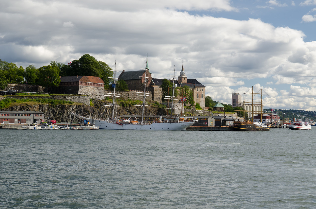 Akershus Fortress from the ferry in Oslo harbor.