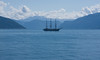 Mir, fully rigged ship from St Petersburg Russia -- in Balestrand a few days before the Tall Ships Races begin in Bergen
