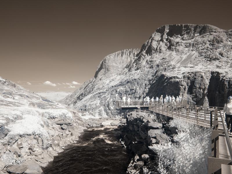 The Trollstigen Overlook in infrared.