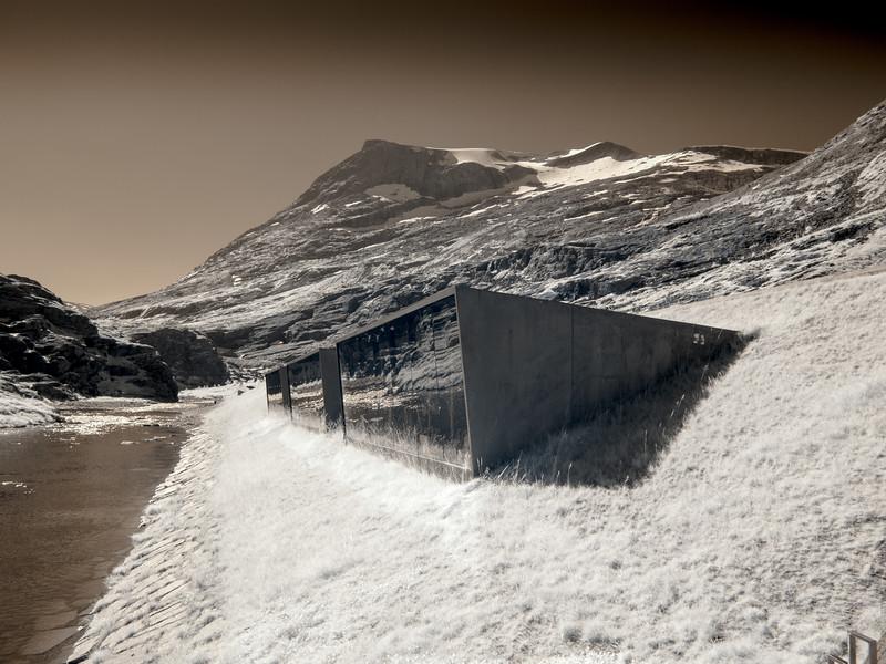 The Trollstigen Visitor Centre in infrared.