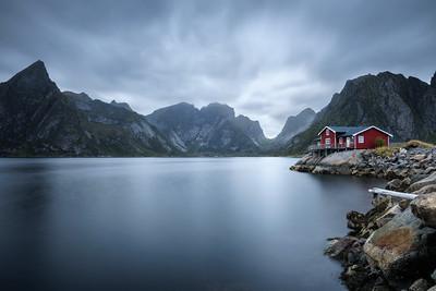 Traditional red rorbu cottage in Hamnoy village, Lofoten islands, Norway