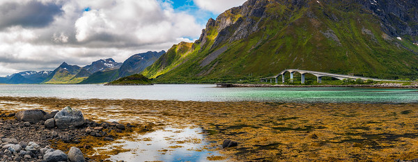 Bridge connecting Lofoten Islands in Norway with surrounding mountains