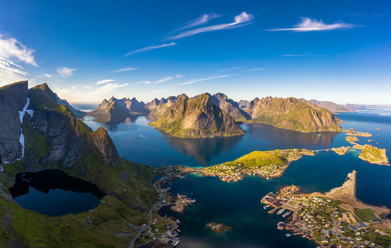 Panorama of mountains, fjords and fishing villages in Lofoten islands, Norway