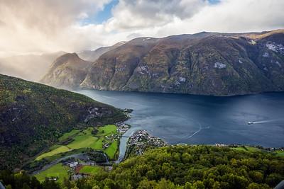 Aurland and Aurlandsfjord in the mist, Sogn og Fjordane, Norway