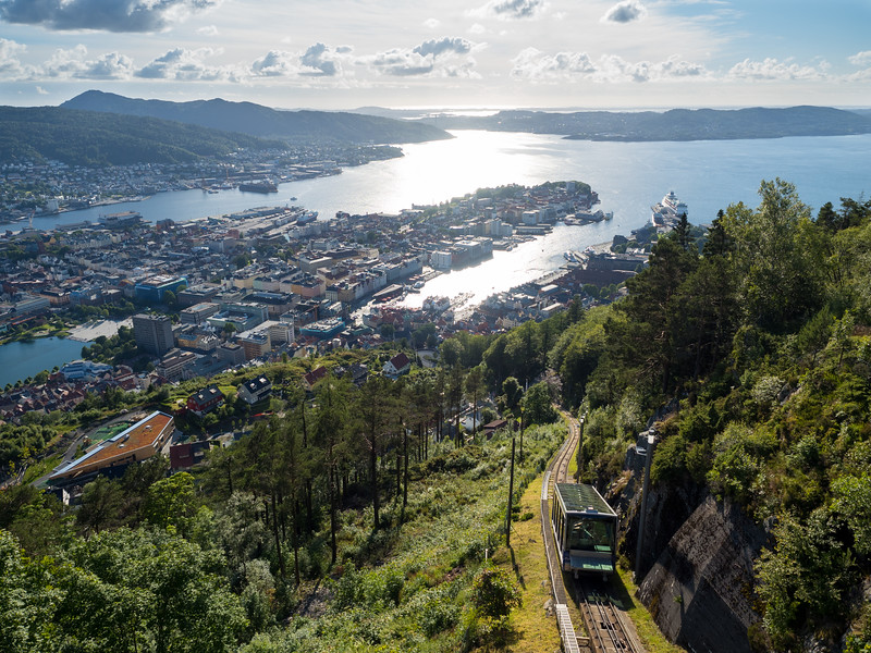 Fløibanen funicular on Mt. Fløyen in Bergen