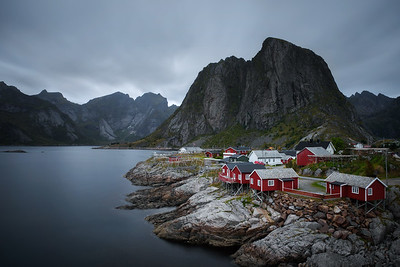 Traditional red rorbu cottages in Hamnoy village, Lofoten islands, Norway
