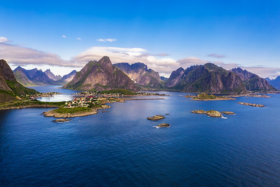 Reine fishing village surrounded by high mountains on Lofoten islands