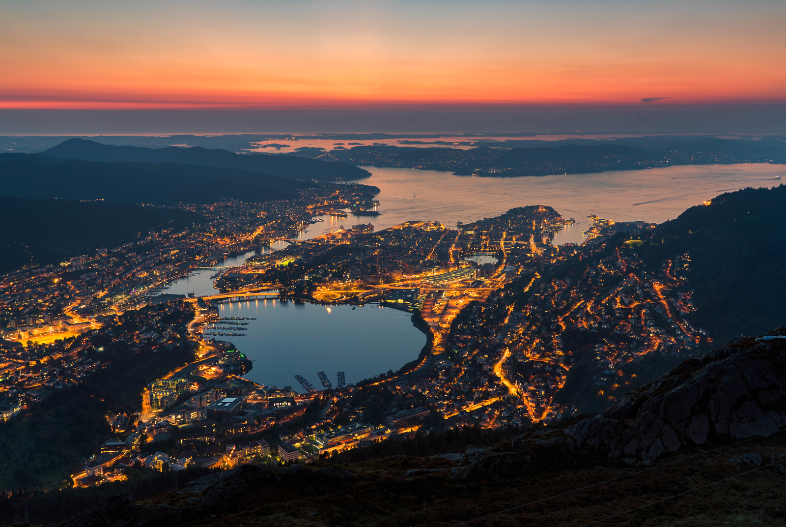 Bergen, Norway at sunset