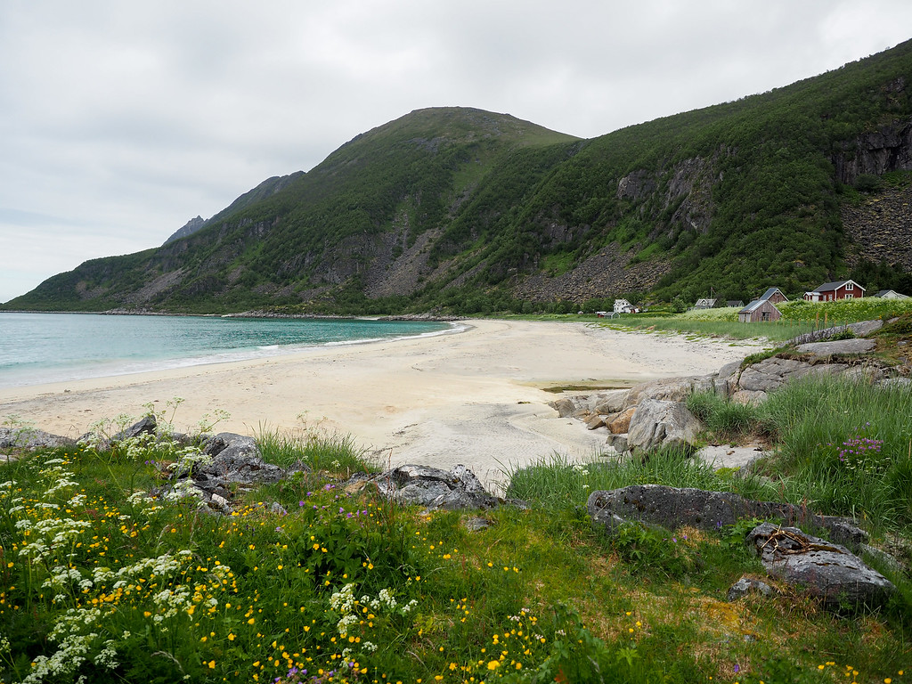 Beach at Bøvær in Norway