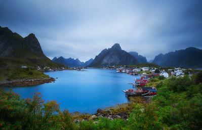 Mount Olstind and Reine fishing village on Lofoten islands