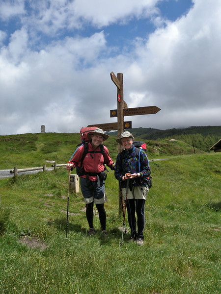 At Col de Roncevaux, before descending to the hamlet of Roncesvalles on the Camino de Santiago.