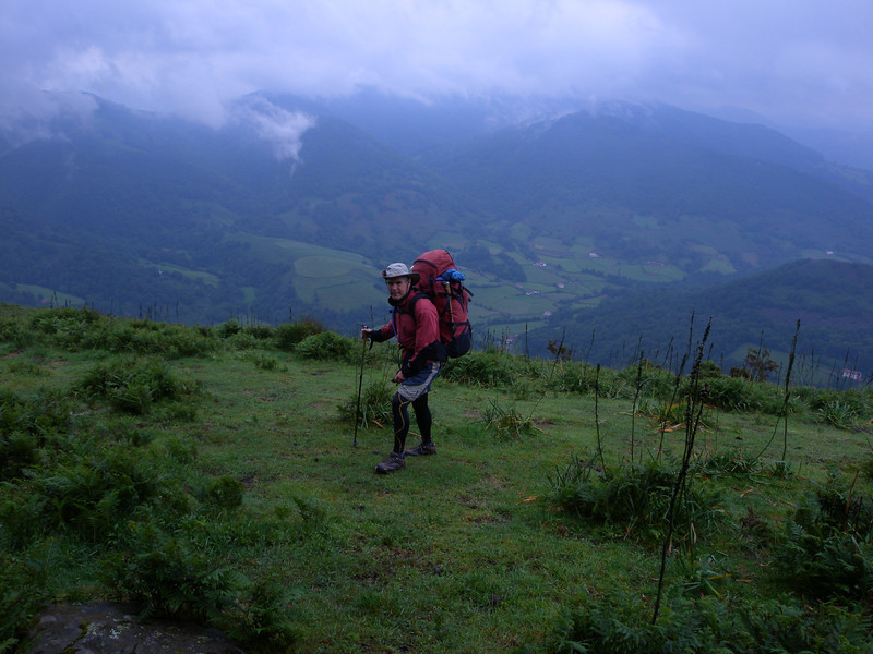 Cool weather walking. Carrying excessively heavy packs kept us warm at this stage of the traverse!