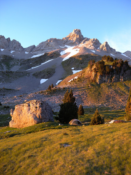 Our 5 star campsite at Le Source de Marmitou (1850 metres).