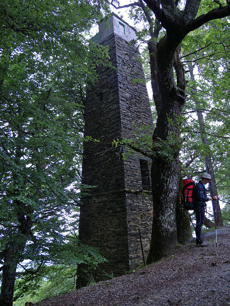A beautifully built but mysterious tower on a ridge in the middle of the beech forest.
