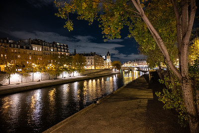 banks of Seine at night