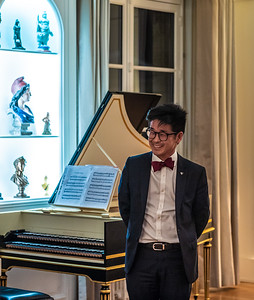MNA Joachim Son-Forget after harpsichord performance at the National Assembly