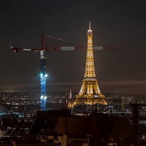 crane & Eiffel Tower seen from Pompidou roof