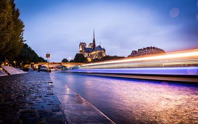 Notre Dame light trails