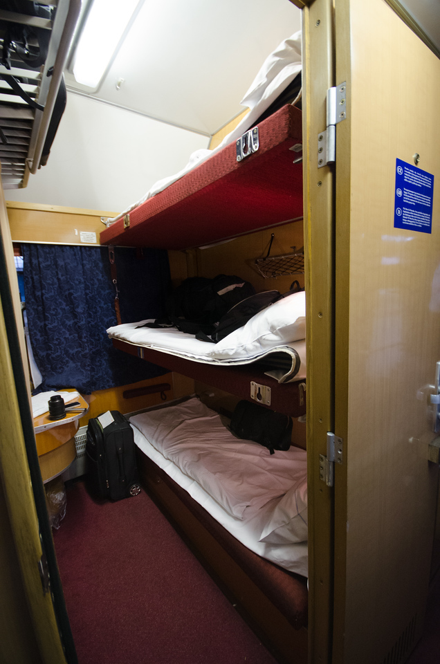 My compartment on the night train from Prague to Krakow.