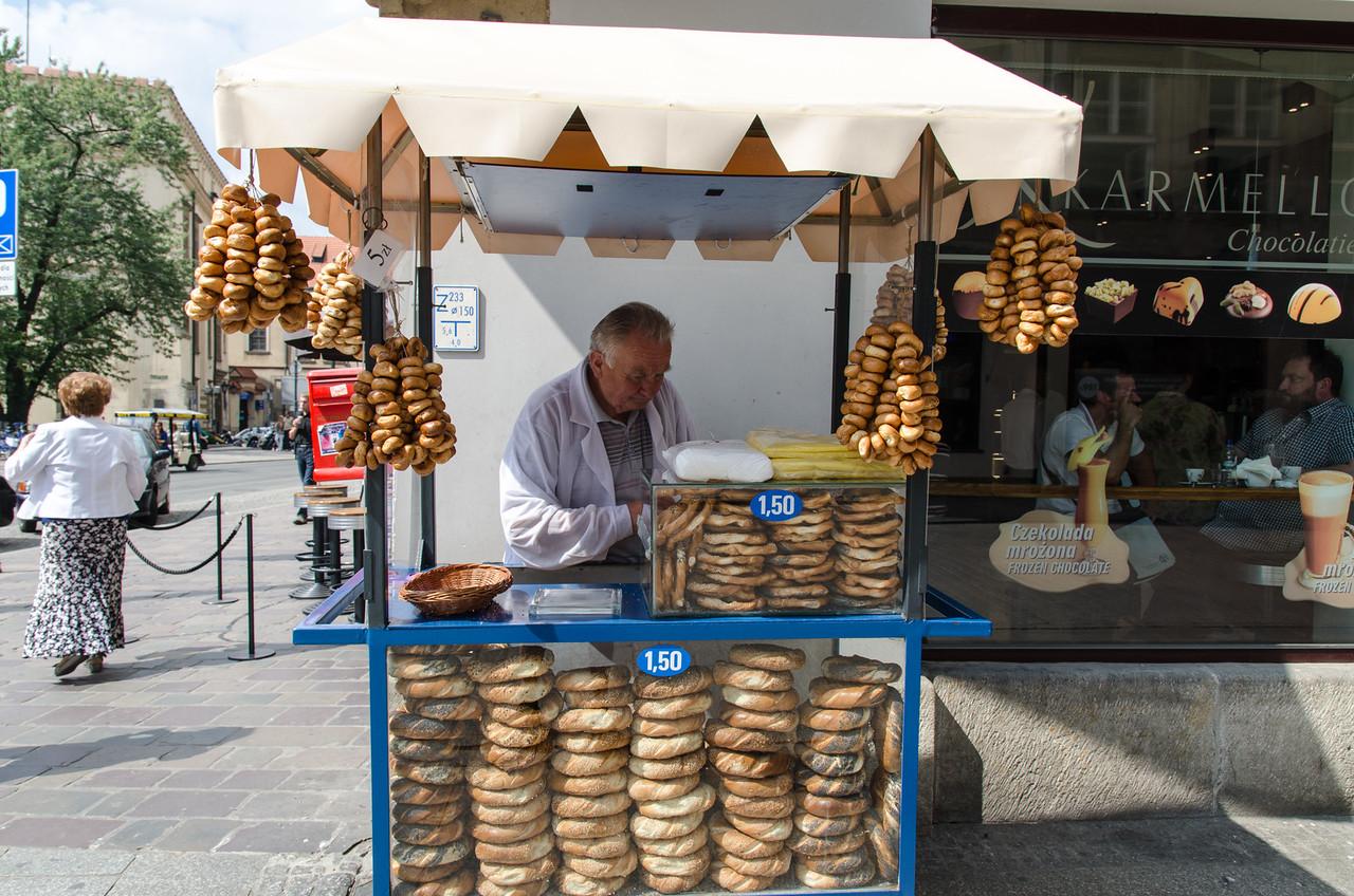 Bagel vendor Grodzka Street.