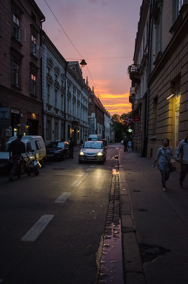 Side street off Main Square at twilight.
