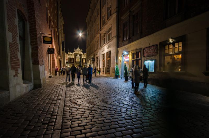 Side street at night.