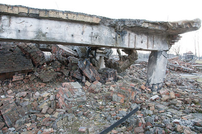 Remains of barracks at Auschwitz Birkenau concentration camp in Poland