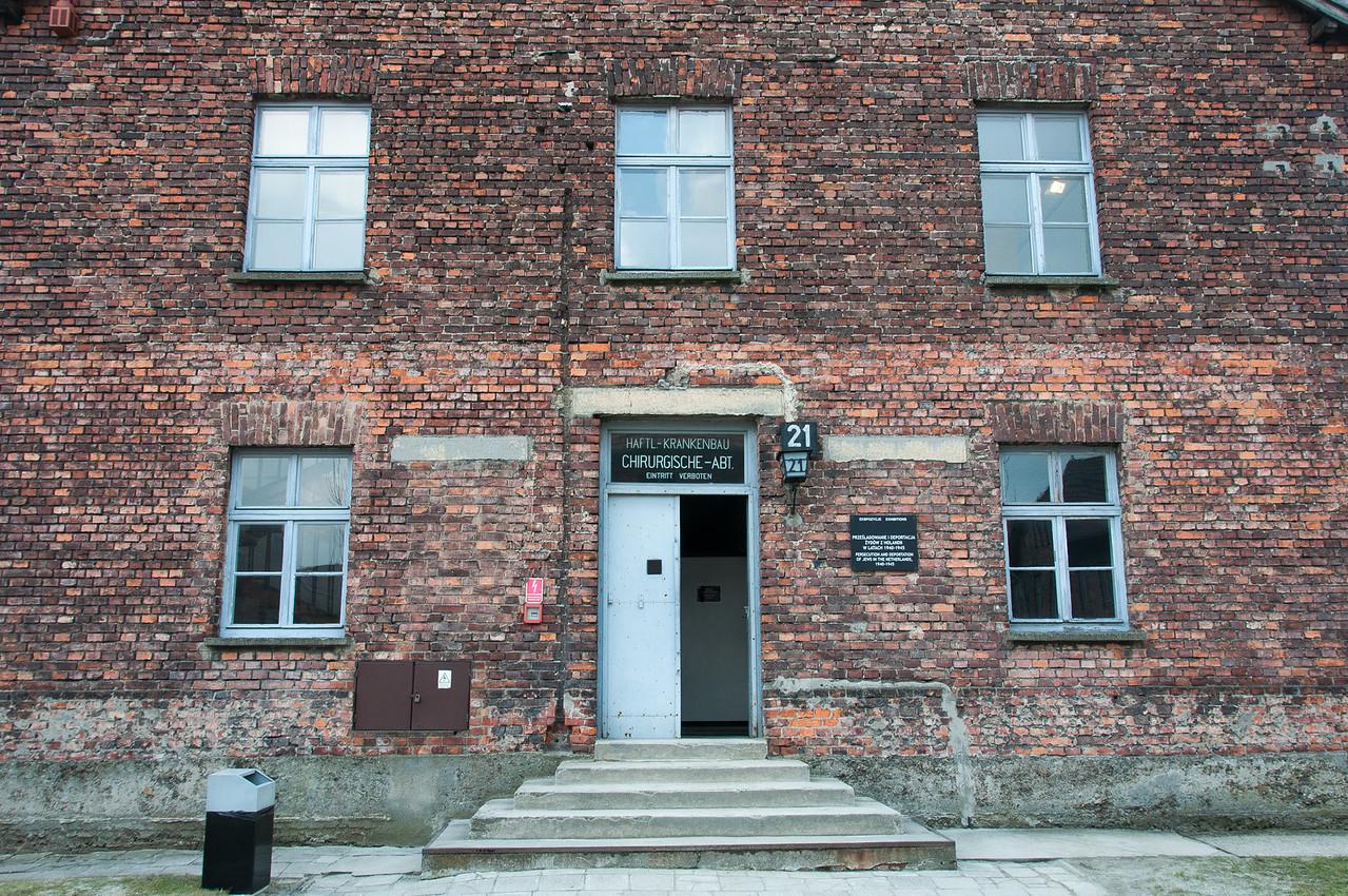 Brick building facade in Auschwitz Birkenau in Krakow, Poland